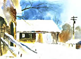 Winters Soft Mantel Instructional Video or DVD by watercolor painting artist Tony Couch. Tony Couch has 10 watercolor and art instruction videos, several books on watercolor painting and teaches watercolor workshops across the U.S. and abroad